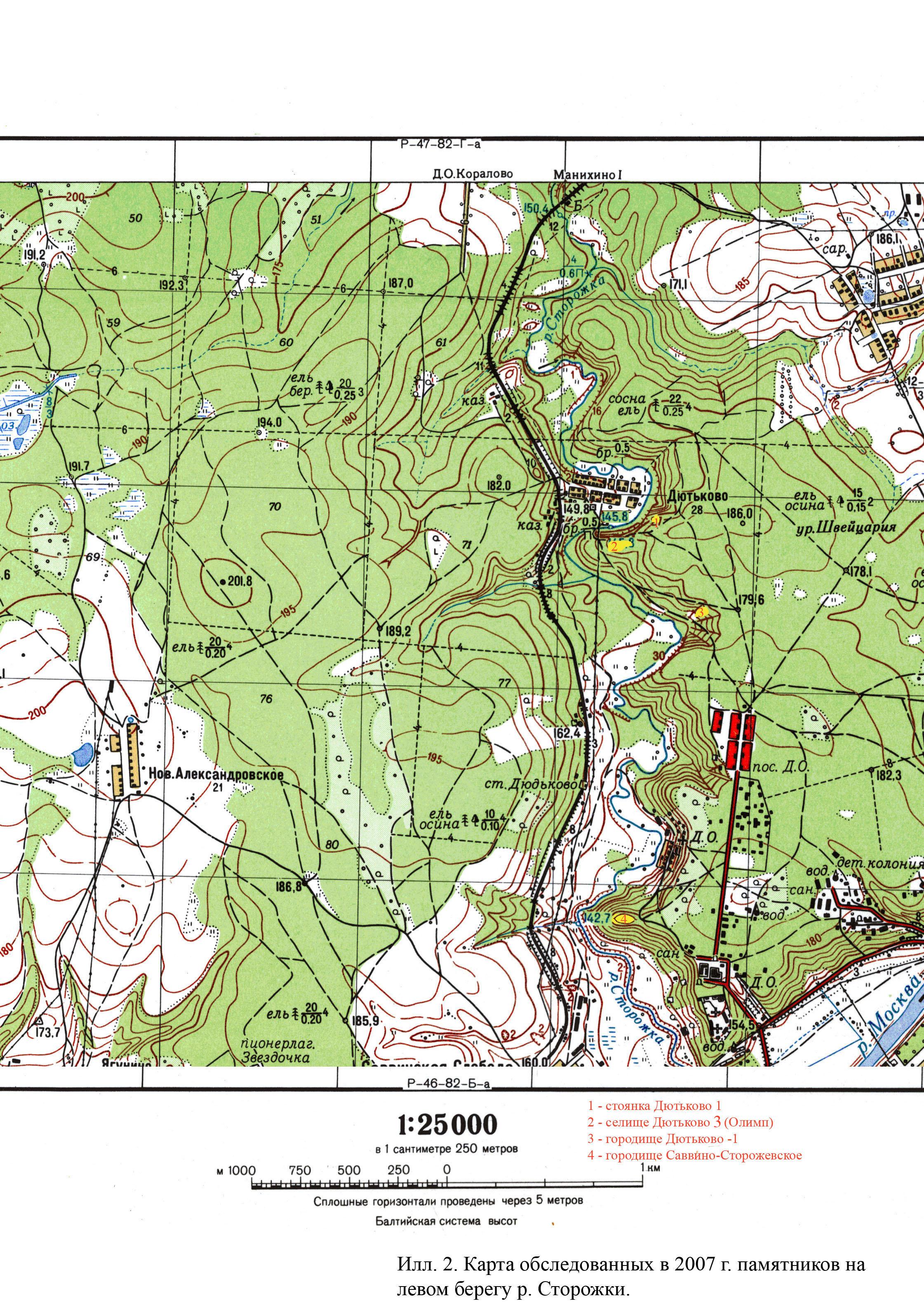 карта раскопок